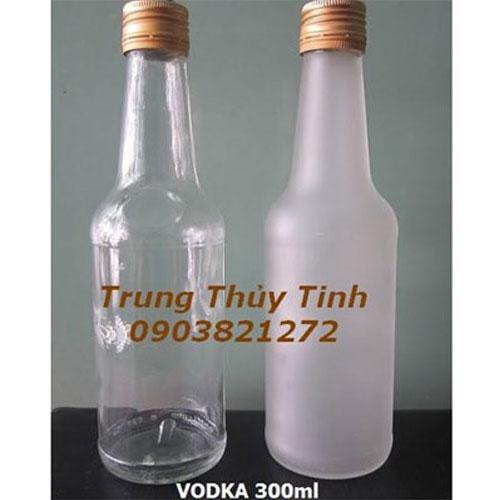 CHAI THỦY TINH TRÒN 300ML NẮP NHÔM ĐỰNG RƯỢU