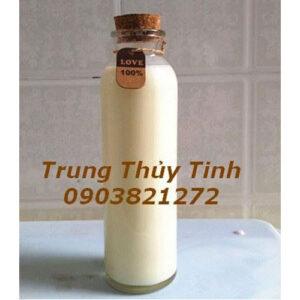 CHAI THỦY TINH TRÒN 350ML NÚT GỖ ĐỰNG SỮA