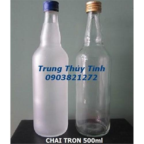 CHAI THỦY TINH TRÒN 500ML NẮP NHÔM