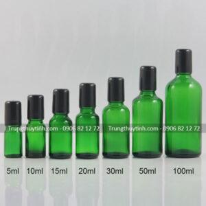 Chai thủy tinh đựng tinh dầu xanh lục
